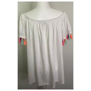 ASOS White Rainbow Tassel Sleeve Top